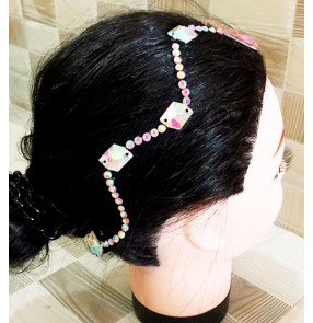 Women's professional ballroom dance rhinestones headdress hair accessories